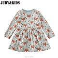 Fantasia vestido para as meninas do bebê roupas de outono roupas infantis de menina Animal bobo choses FOX imprimir manga comprida vestidos de roupas