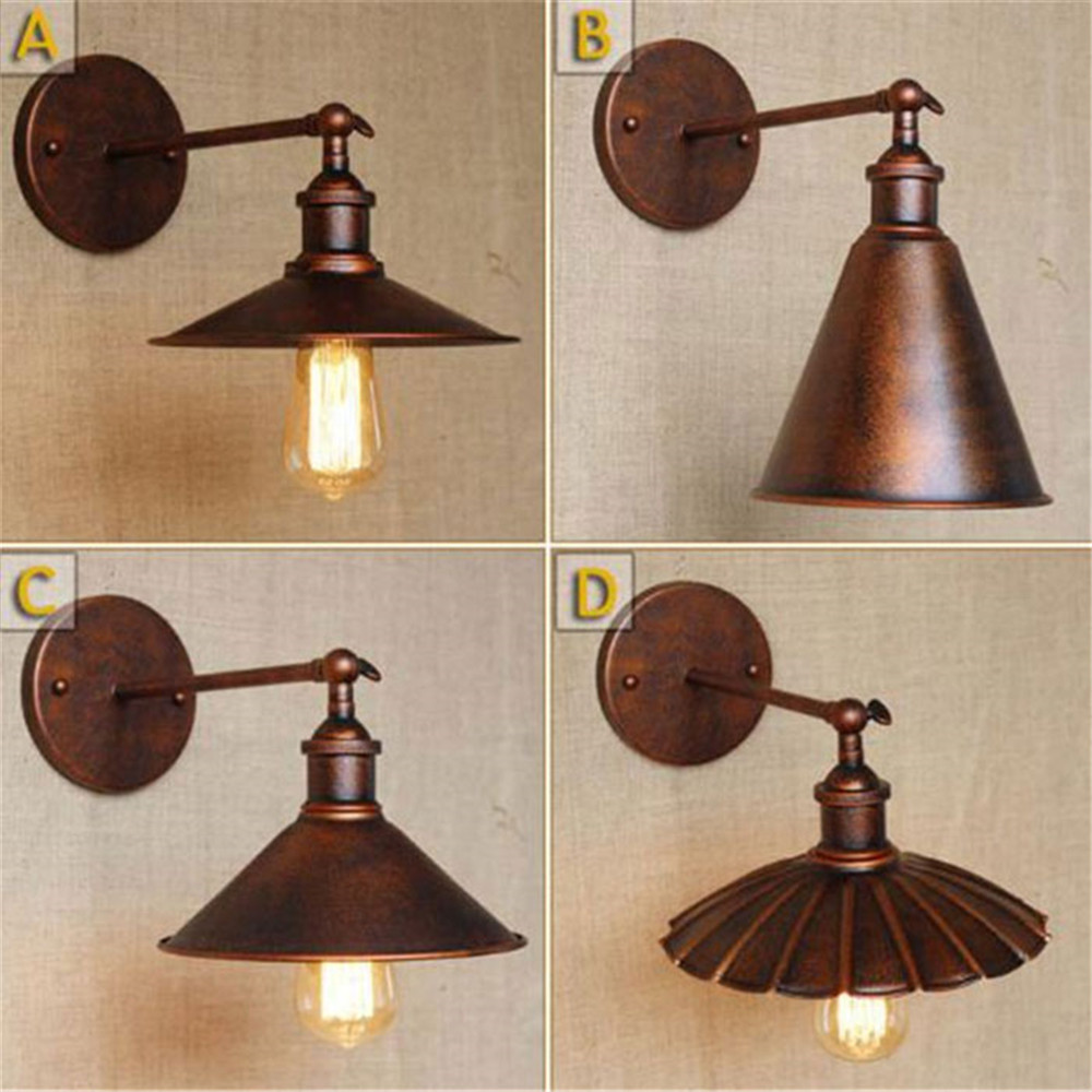 Rustic Industrial Lighting Double Sconce Wall Light Iron: Vintage Industrial Wall Lamp Retro Loft Rustic Wall Light