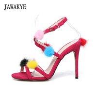 JAWAKYE Colorful mink hair ball high heels sandals women Peep Toe Ankle Buckle Strap Gladiator Heeled Mules Sandalias mujer
