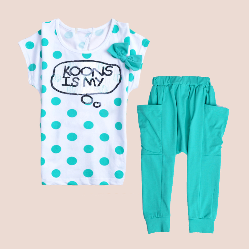 Girls Summer Sets Children Clothing Dots Cotton Kids Clothes Casual Short Sleeve T-Shirt+Pants Suits Vestidos Infantil 6 8 10 12 family fashion summer tops 2015 clothers short sleeve t shirt stripe navy style shirt clothes for mother dad and children