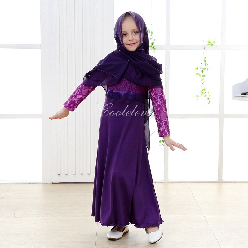 Long sleeve maxi dress with hijab girls
