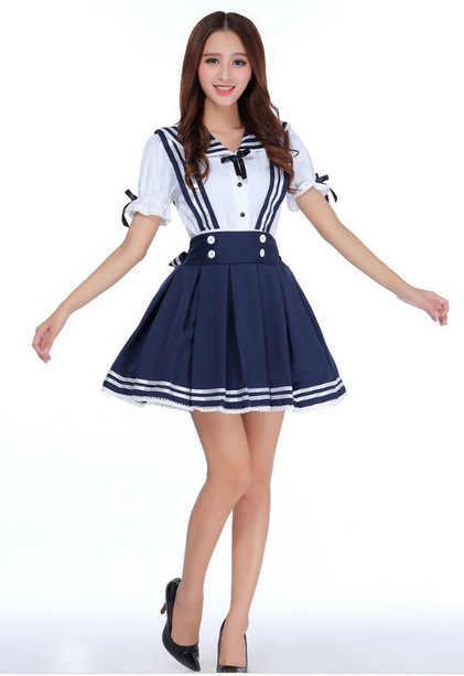 bd8dadadf ... New Japanese School Uniform Korean Dolly Skirt Anime Girl Women Sailor  Lolita Dress Maid Uniform Cosplay ...