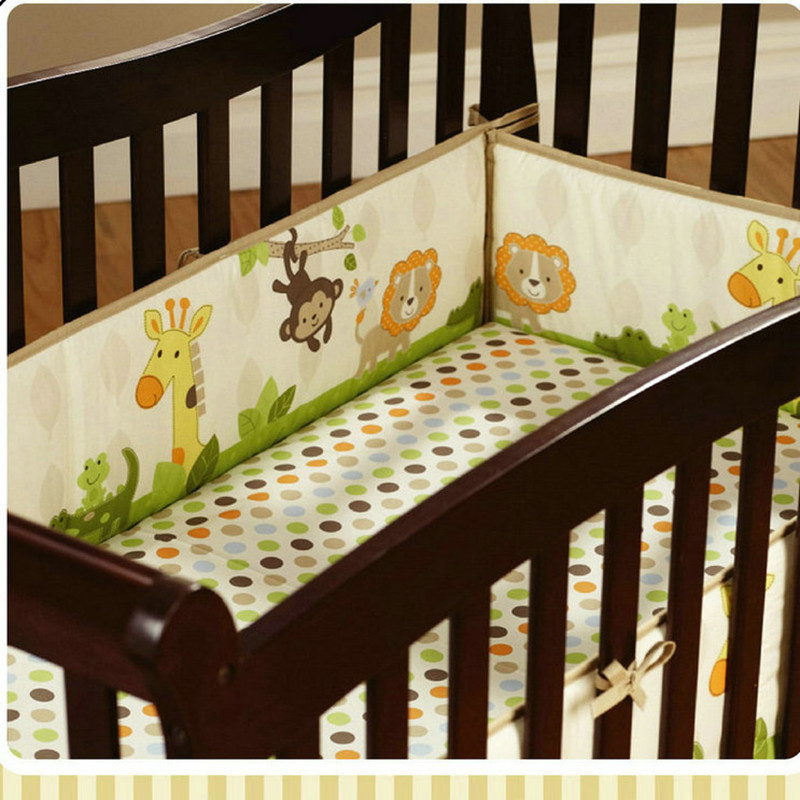 Animal Print Cotton Soft Baby Crib Cot bumpers Set Breathable for Newborn Safety Fence baby Bumpers Bedding Accessories 4pc botanical print bedding set