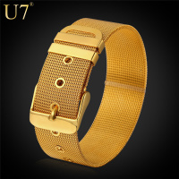 2015 Trendy Watchband Style Chain Bracelet Men Jewelry Wholesale 18k Gold Plated 316L Stainless Steel Bracelets