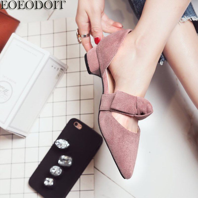 EOEODOIT 2018 Spring New Low Heel Shoes Women Young Lady Sweet Bow Pumps Square Heel Pointed Toe Casual Summer Sandals 3 CM 2018 spring summer low heel sandals pointed toe shallow mouth women shoes woman cozy casual shoes leisure single ladies shoes cy