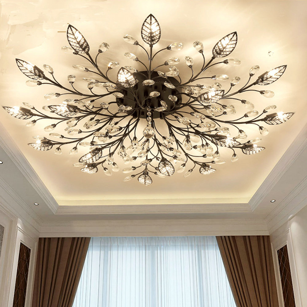 Modern Flush Mount Home Gold Black LED K9 Crystal Ceiling Chandelier Lights Fixture for Living Room Innrech Market.com