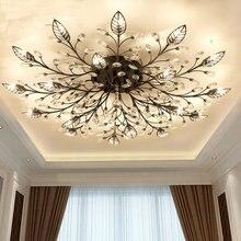 Современные заподлицо дома золотистый и черный светодио дный K9 кристалл Потолочная люстра светильники приспособление для гостиная спальня кухня лампы