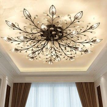 цена на Modern Flush Mount Home Gold Black LED K9 Crystal Ceiling Chandelier Lights Fixture for Living Room Bedroom Kitchen Lamps