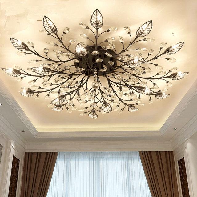 Modern Flush Mount Home Gold Black Led K9 Crystal Ceiling Chandelier