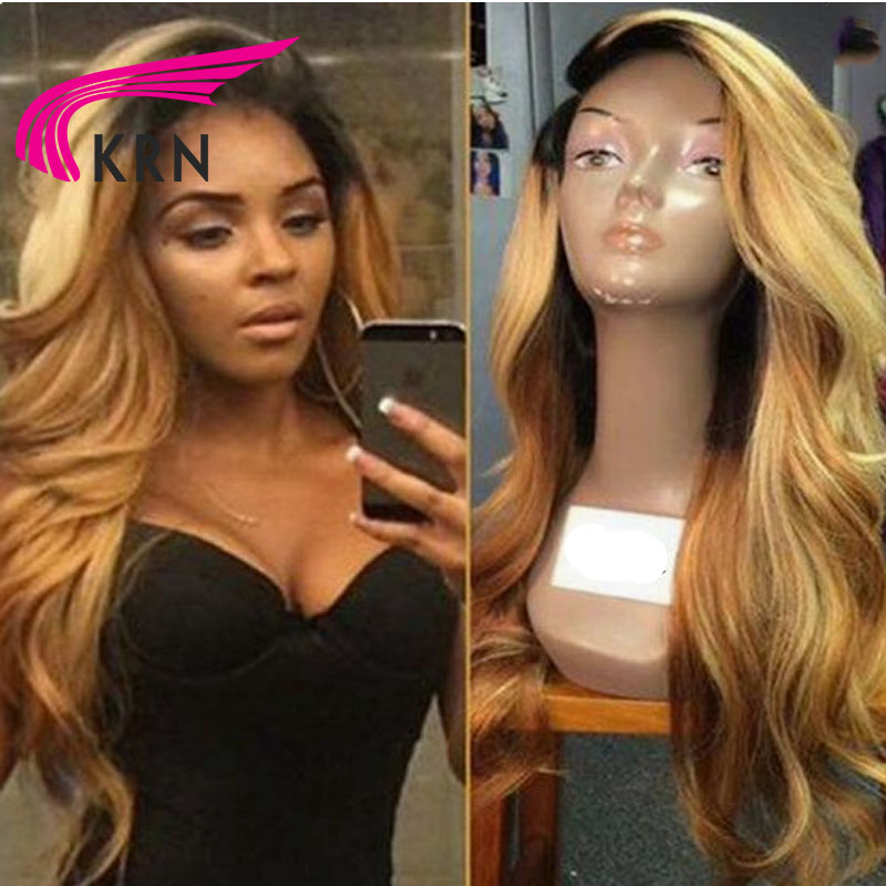 KRN 130 Density Body Wavy Lace Front Human Hair Wigs 10-24 Inch Ombre Remy Hair Pre Plucked Brazilian Lace Wigs Side Part