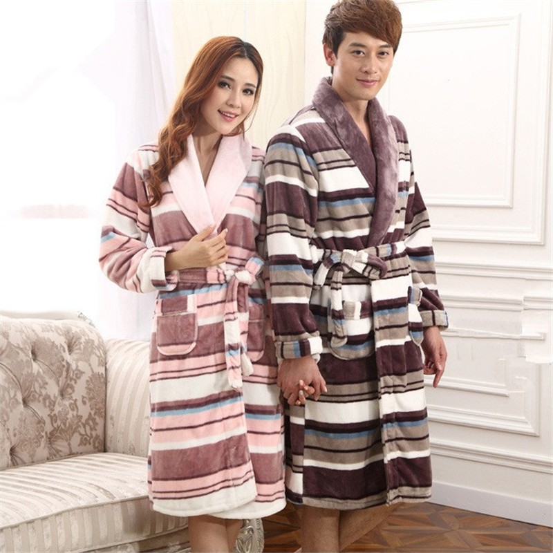 Winter Lovers Robes For Women Sexy Bathrobe Thick Warm Flannel Sleepwear Men's Bath Long Bride Robe Female Nightgown Robe