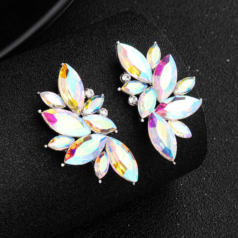 SLBRIDAL Trendy Charm Silve AB Marquise Crystal Rhinestones Fashion Earrings Bridal Wedding Drop Earrings Women Girls Jewelry