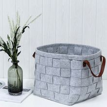Hot Large Storage Basket with Handle For Sundries Clothes Home Felt Weave Solid Light Grey Dark for Laundry