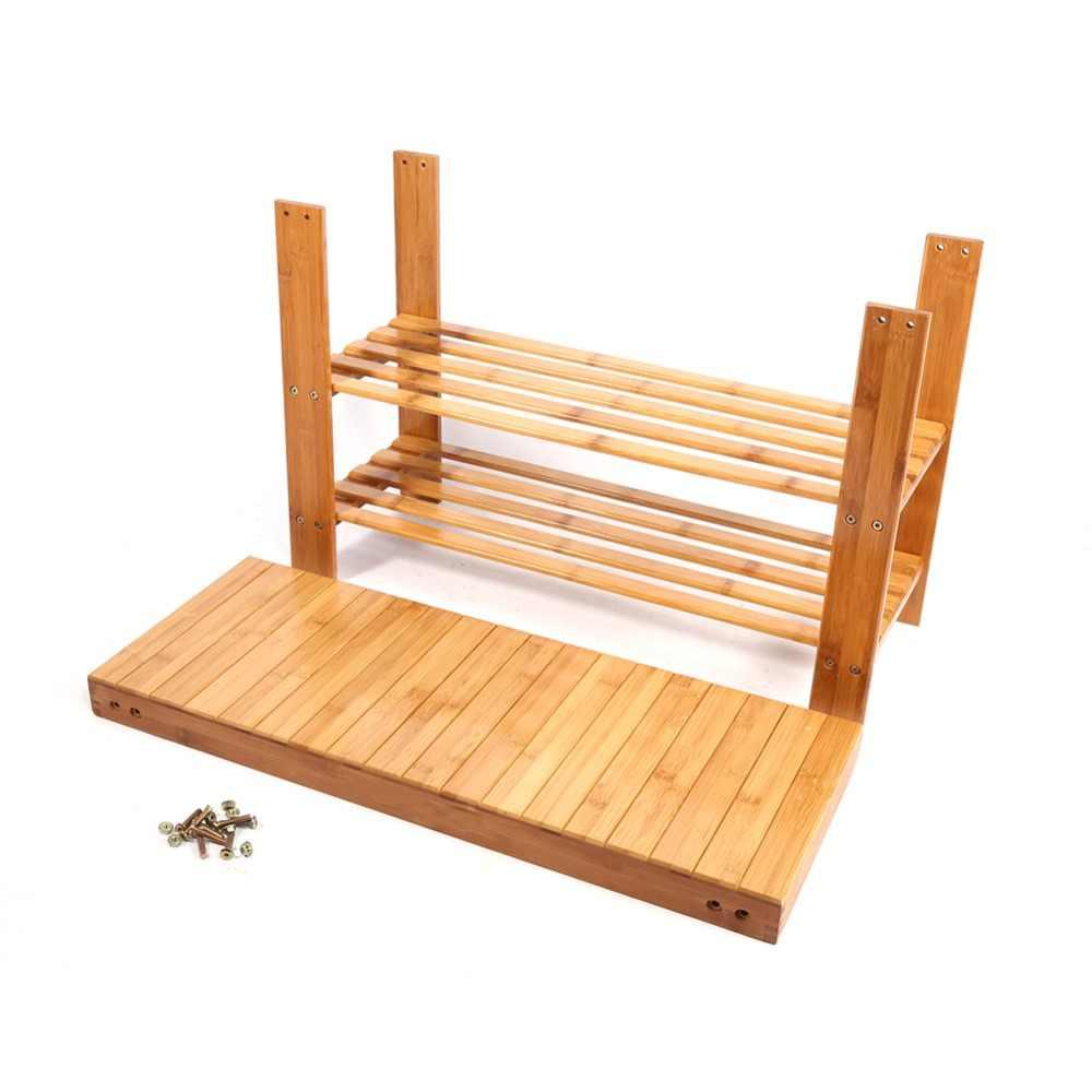 3 уровня современный бамбуковый мульти-fuction стеллаж для хранения обуви Органайзер стенд полка