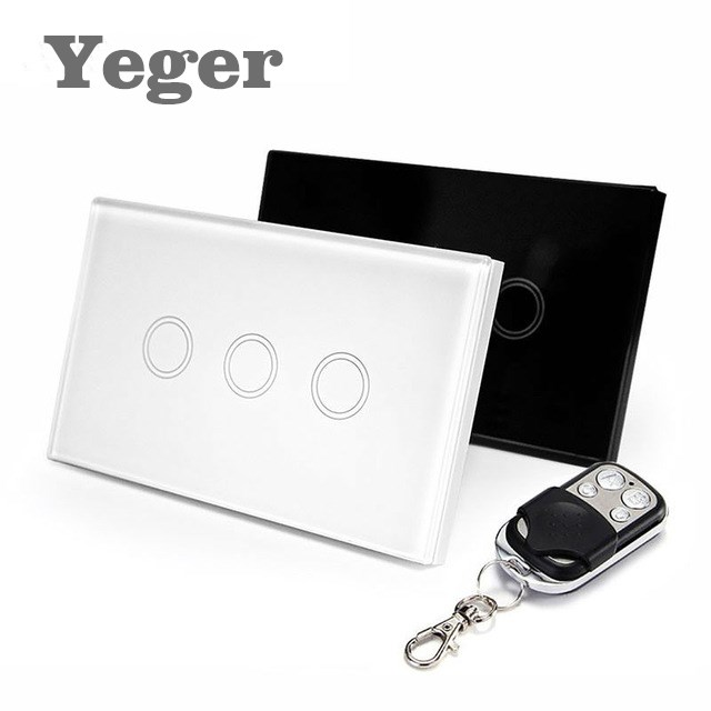 Yeger  US Standard  Remote Control Switch 3 Gang 1 Way ,RF433 Smart Wall Switch, Wireless remote control touch light switch 2017 smart home crystal glass panel wall switch wireless remote light switch us 1 gang wall light touch switch with controller