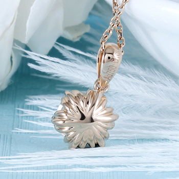 DovEggs 18K 750 Rose Gold 1CTW 6.5mm F Color Moissanite Flower Shaped Pendant Necklace with 14 4