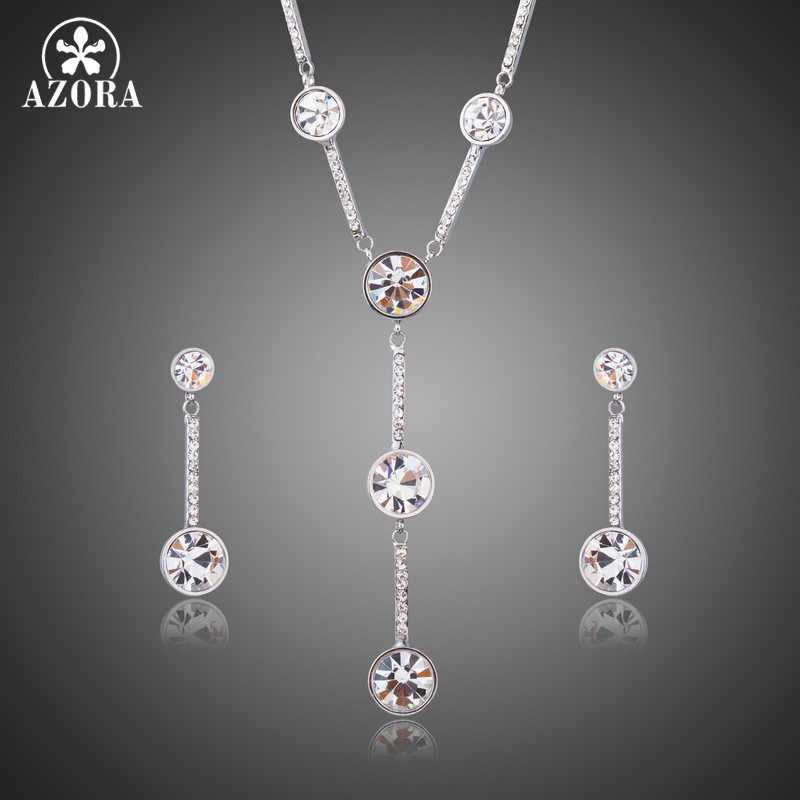 AZORA Elegent White Gold Color Classic Y Style Clear Crystal Engagement Wedding Earrings and Necklace Jewelry Sets TG0224