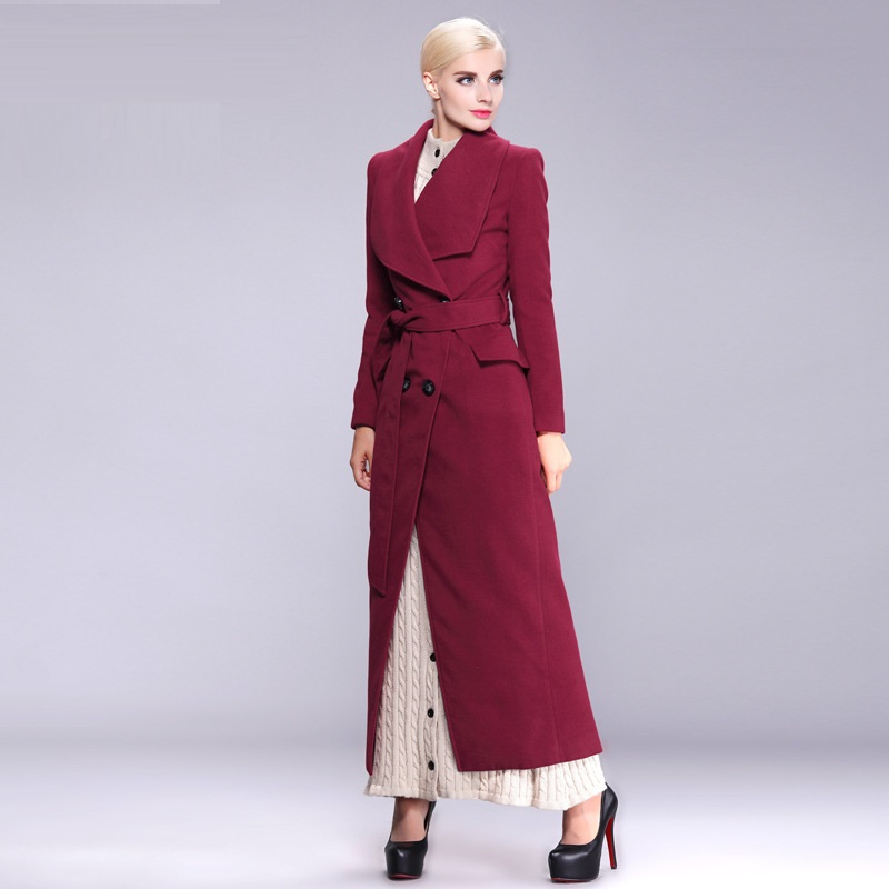 2015 autumn and winter long coats for women blue and red brand ...