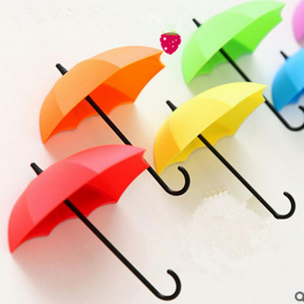 3Pcs Colorful Umbrella Wall Hook Key Hair Pin Holder Organizer Decorative Free Shipping