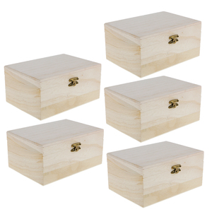 Image 3 - 5 Pieces Plain Unpainted Natural Wooden Storage Box Memory Chest Craft Boxes