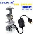 SUKIOTO 35W /70W H4 LED Headlight Projector lens Bulb LHD H4 Hi/Lo H4 bixenon Mini projector bulb 1.5 inch 5500K Car Styling