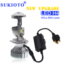 SUKIOTO 35W /70W H4 LED Headlight Projector lens Bulb LHD H4 Hi/Lo H4 bixenon Mini projector bulb 1.5 inch 5500K Car Styling 7 led headlight for motorcycle projector led bulb projector h4 h13 motorcycle headlight
