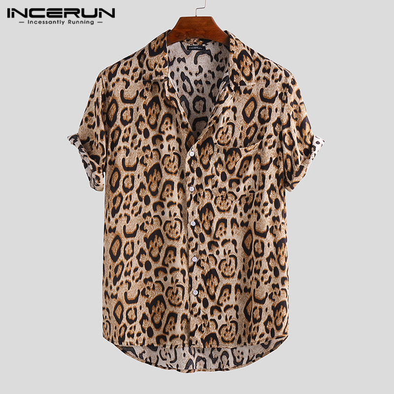 2019 Summer Leopard Print Men Shirt Breathable Short Sleeve Loose Button Blouse Streetwear Beach Hawaiian Shirts Men INCERUN 3XL