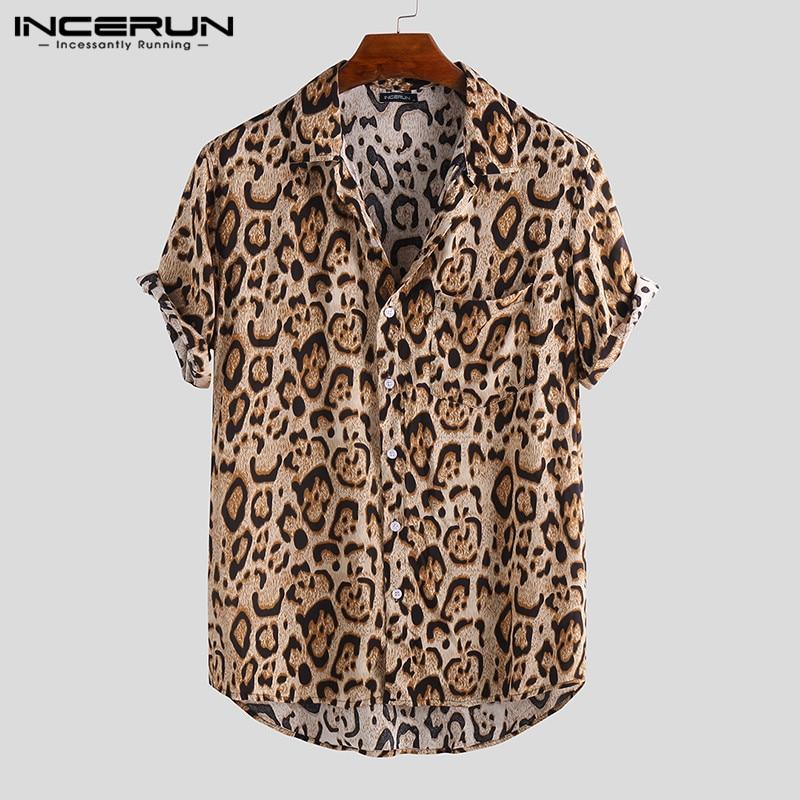 2020 Summer Leopard Print Men Shirt Breathable Short Sleeve Loose Button Blouse Streetwear Beach Hawaiian Shirts Men INCERUN 3XL