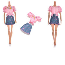 1 set Hot Sale Fashion Cute Doll Clothes Sets Summer Short Sleeve Flower Print Doll Dress Mini Princess Denim Skirt For girl(China)
