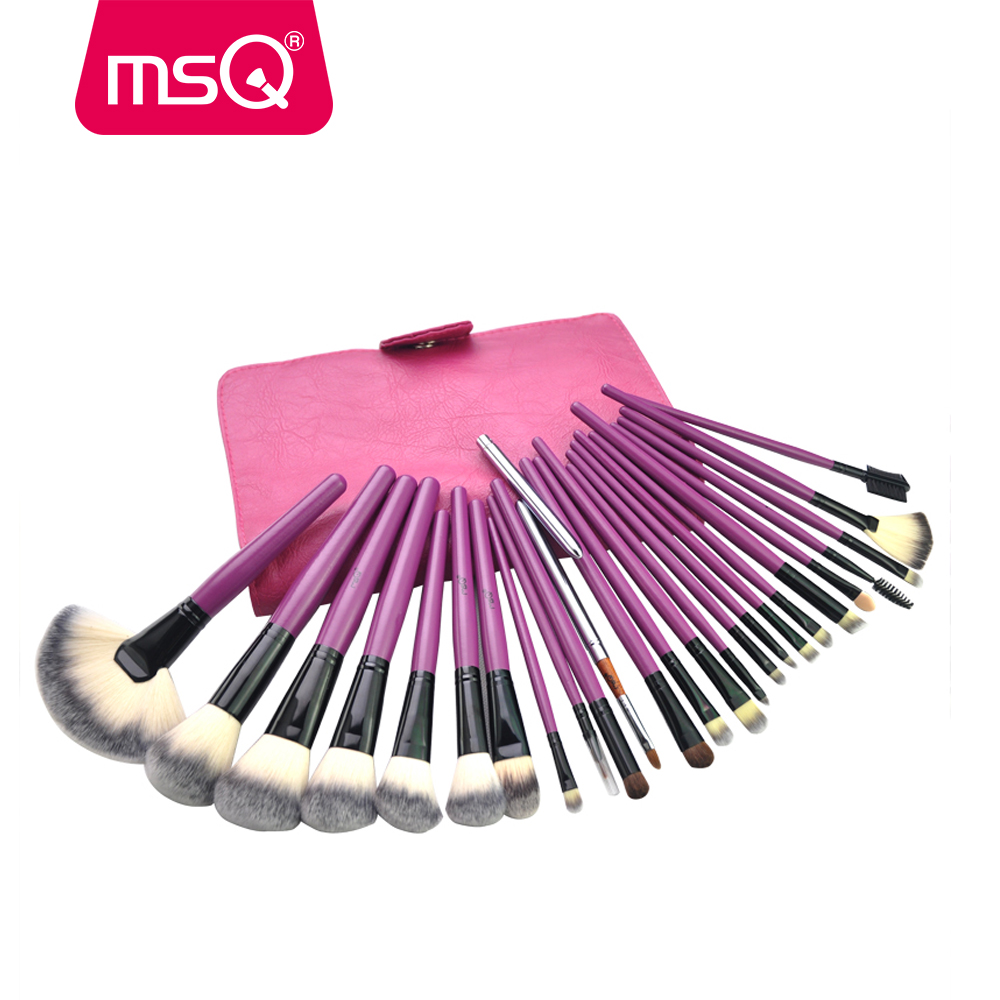 MSQ Make Up Brushes Set 24pcs Pro Foundation Makeup Brush Kit High Quality Synthetic Hair Wood Handle Cosmetic PU Leather Case hot msq new product single foundation black synthetic makeup brush big wood handle cosmetic make up kit free shipping