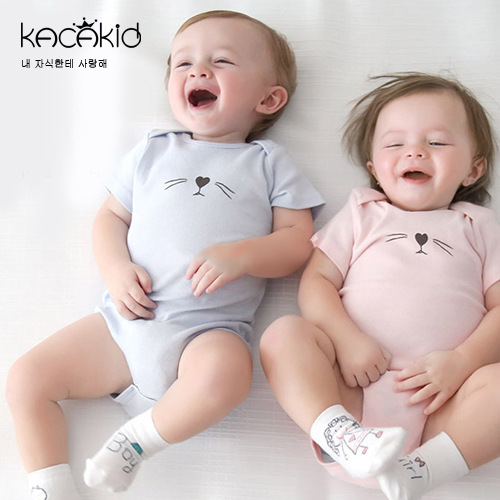 2016 baby girl boys clothes cute cat kids rompers short sleeve cotton kids romper newborn infant clothing bebe overall clothes