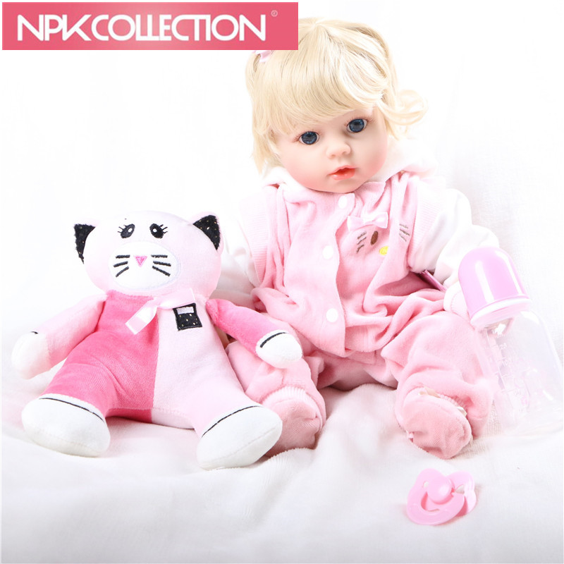 The  Newest  styles Cat toys blond Lifelike Baby Bonecas Bebe Kid Toy Cute Girl Silicone Reborn Baby Dolls & Stuffed Toys N127 large 24x24 cm simulation white cat with yellow head cat model lifelike big head squatting cat model decoration t187