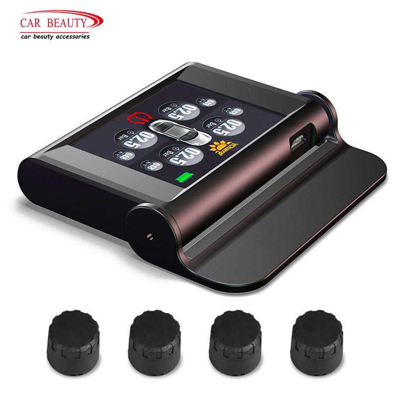 Solar Powered TPMS Digital Smart Car Tire Pressure Monitoring System Wireless Tyre Temperature&Pressure Abnormal Audible Alarm giantree external car automotive tire pressure monitoring system tpms solar energy alarm abnormal car alarm