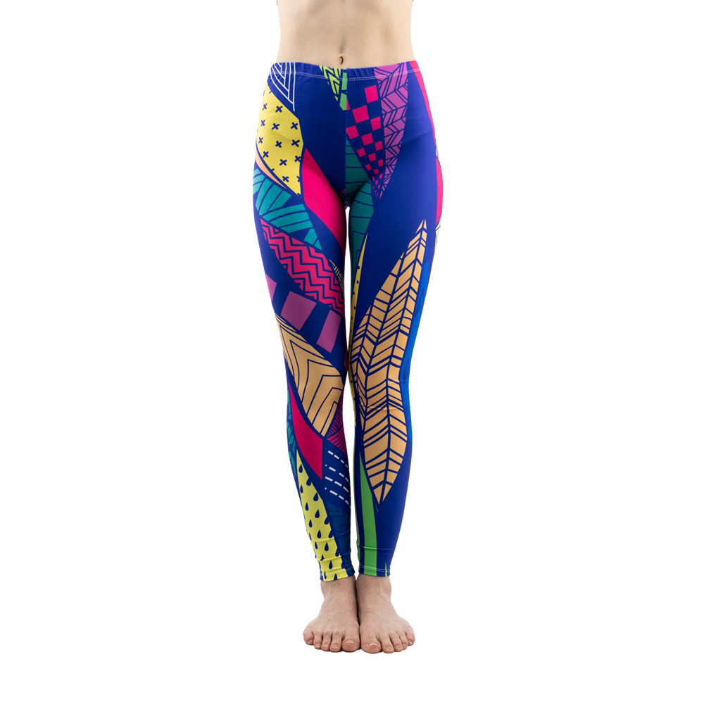 Colorful Line Printing Fashion Women Stretch Slim Leggings Fitness Bottoms Sexy Workout Elasticity Pants