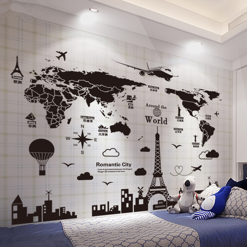 Map, Art, Decoration, World, Stickers, Shipping