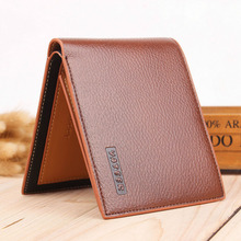 Sólido de los hombres de cuero billetera con monedero 3 pliegues masculinos titular de la tarjeta monedero para hombre