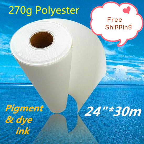 270g 24 30m digital printing matte waterproof polyester canvas for waterbase ink dye and pigment