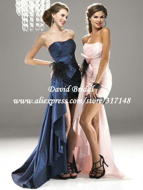He642 New Design Strapless Black Feathers Pink High Low Prom Dress