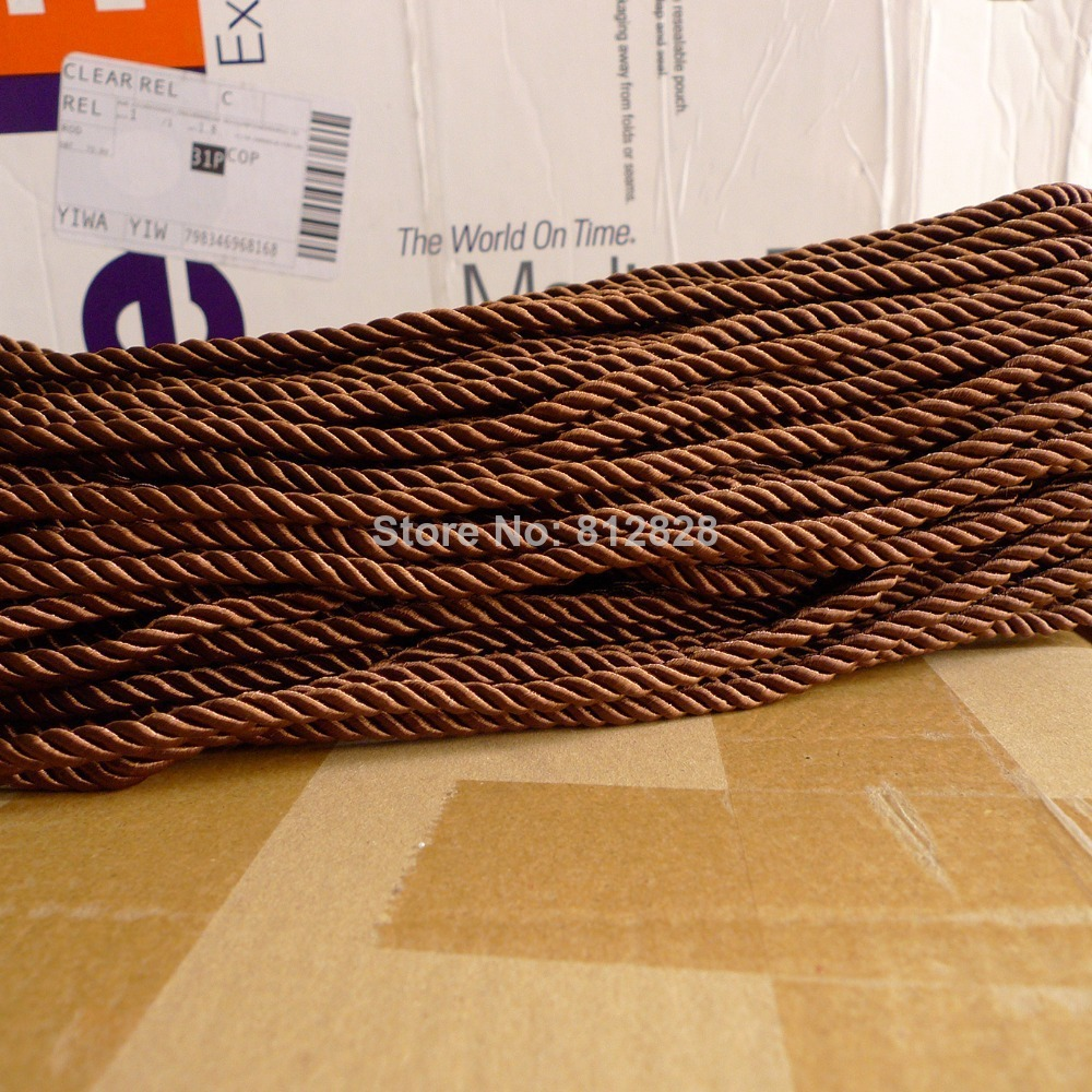 100 Meters 5mm Brown Color Decorative Polyester Twisted Cords 20 Colors Available