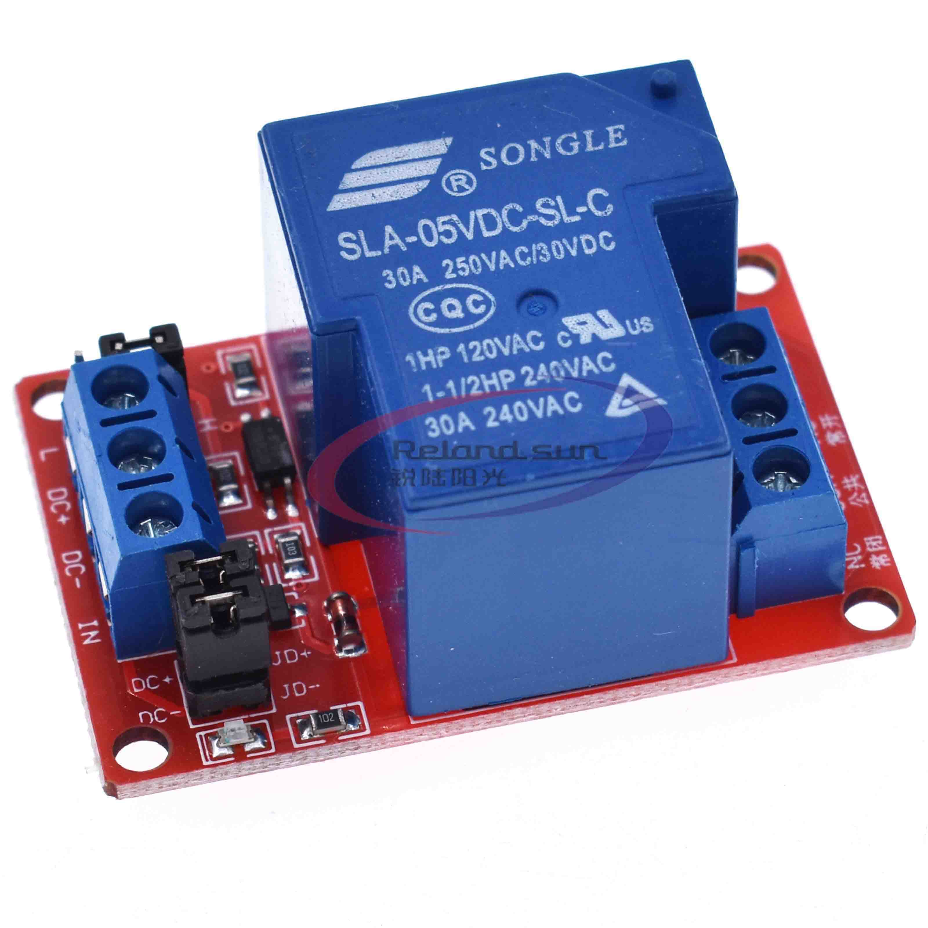 DC 5V <font><b>12V</b></font> <font><b>24V</b></font> 30A High Power 1-Channel Relay Module With Optocoupler H/L Level Triger for <font><b>Arduino</b></font> Mega AVR PIC DSP ARM image
