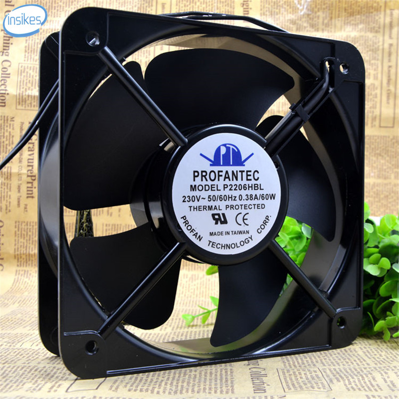DHL Free P2206HBL AC 230V 0.38A 60W 20060 20cm 200*200*60mm 2 Wires 50/60HZ Metal High Temperature Cooling Fan