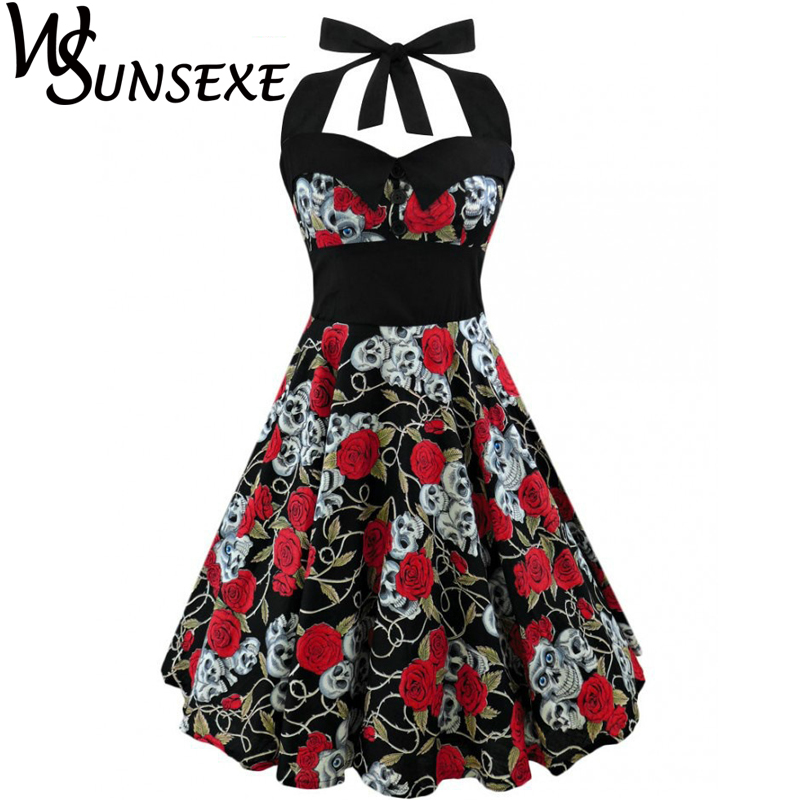 Wsunsexe Retro Vintage Style Sleeveless 3D Skull Floral Printed 2017 Summer Women Dress Halter Plus Size Party Sexy Casual Dress 1