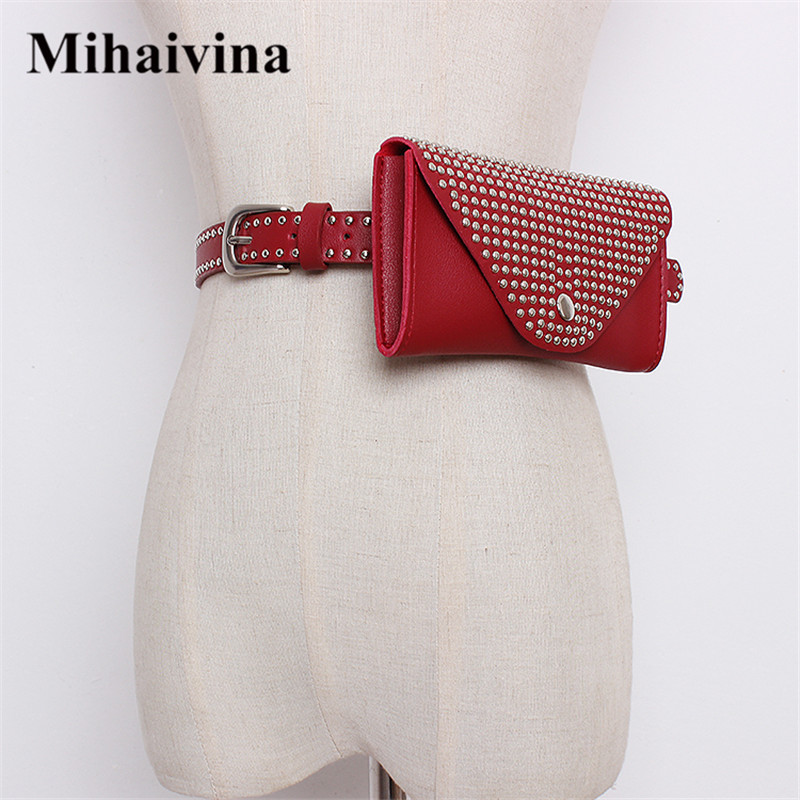 Mihaivina Fashion Women Waist Pack Revit Belt Bags PU Leather 7 Color Women Bag Lady Dress Waist Bag Travel Fanny Pack Wholesale цена