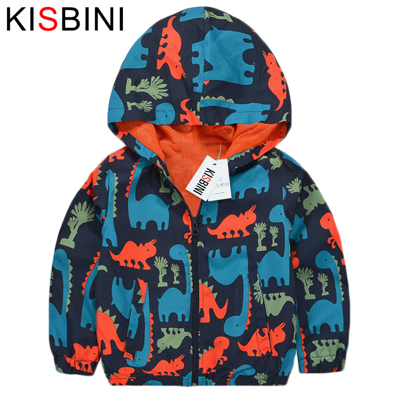 KISBINI Dinosaur Childrens Windbreaker Autumn Casual Hooded Boys Jackets and Coats Kids Sports Active Outerwear Clothes 2017 ...