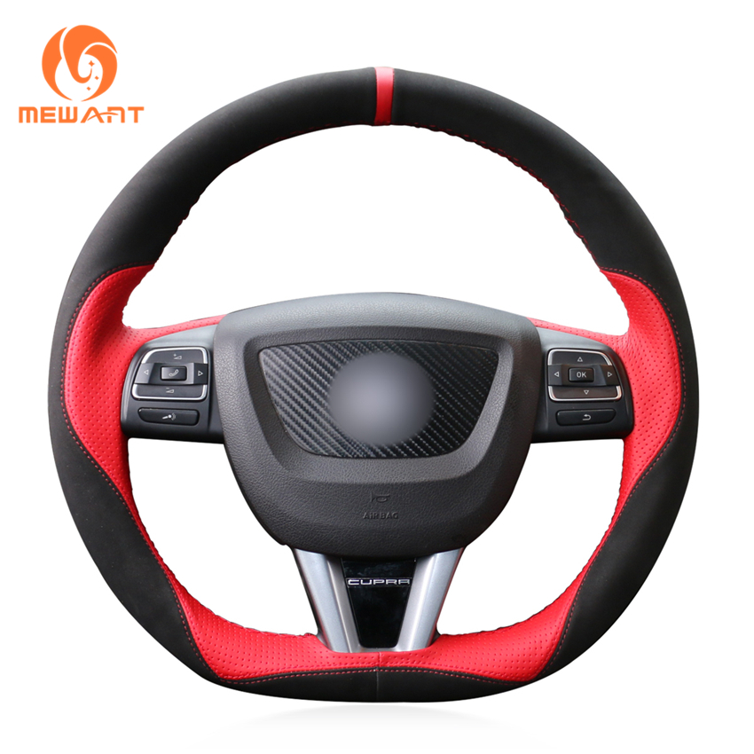 MEWANT Black Suede Red Leather Car Steering Wheel Cover for Seat Leon 2009-2012 runba breathable leather steering wheel cover sets black white red