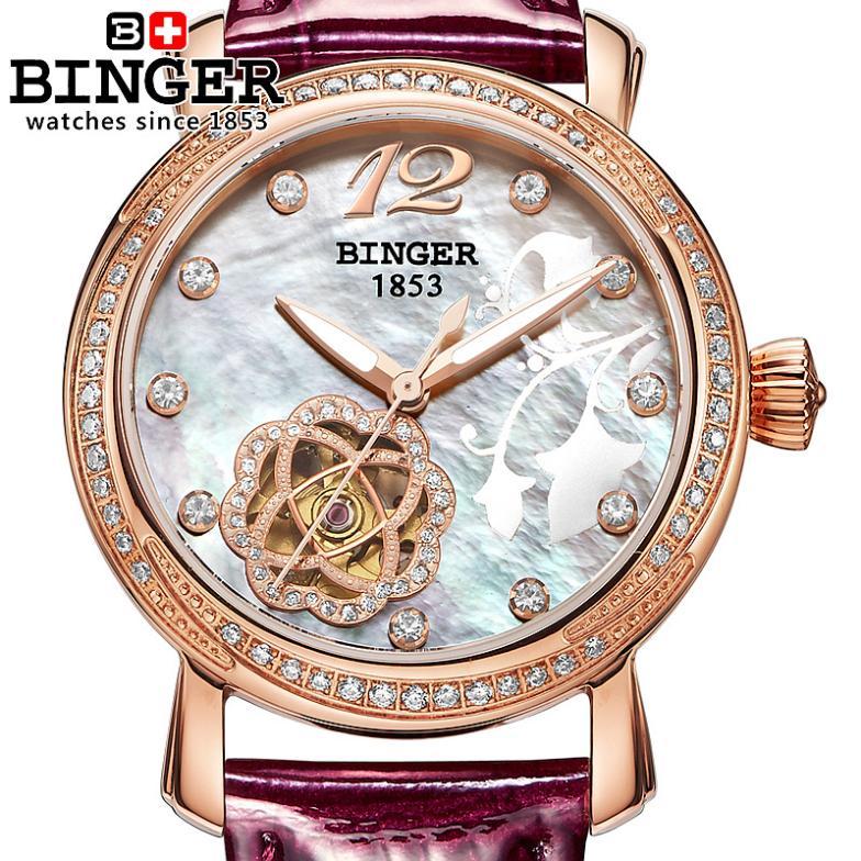 Binger Luxury Watch Mechanical-Wristwatches Leather-Strap Automatic-Winding Women Fashion