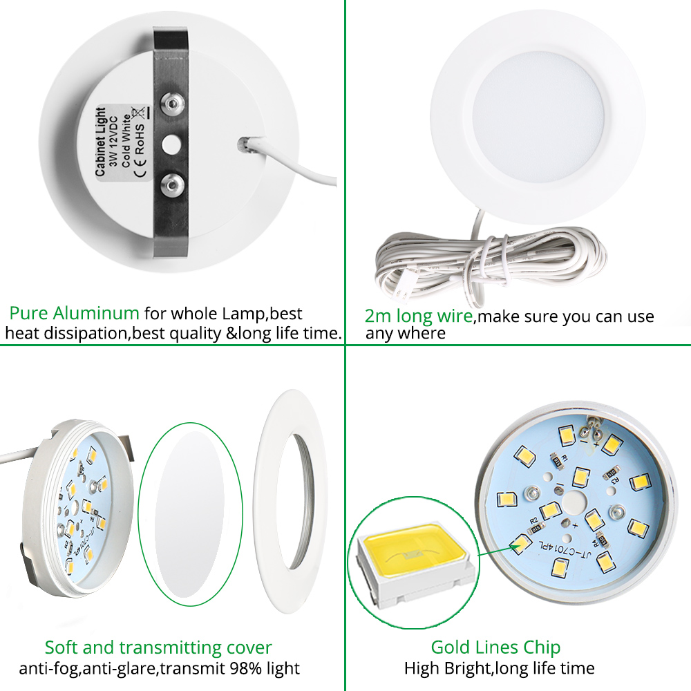 Led Under Cabinet Lights Closet Light 12v 3w Connecting Round House Wiring For Bookshelf Kitchen Surface Mounted Downlights Puck Showcase Lamp In From