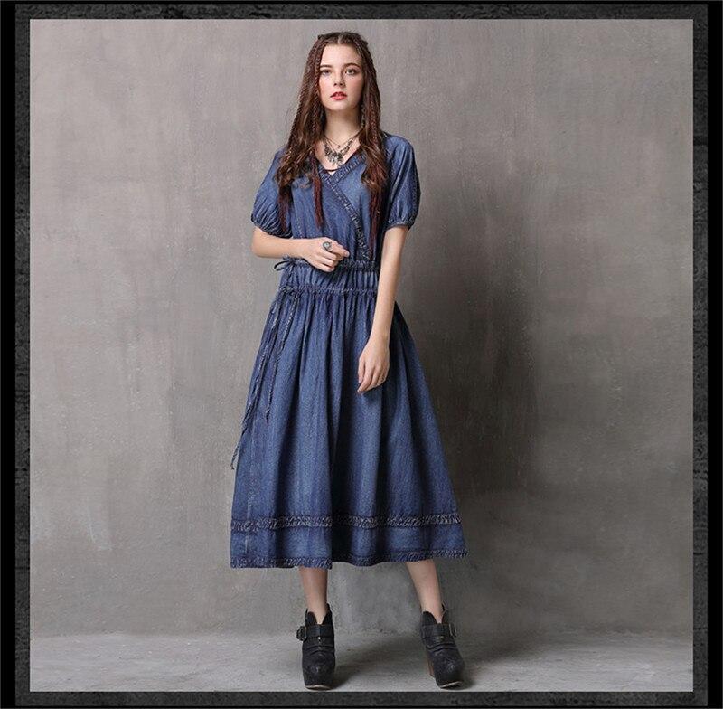Adjustable Waist Summer Dresses 2019 Vintage Denim Women V-Neck Dress Hollow out  Lantern Sleeve Swing Hem Vestidos (10)