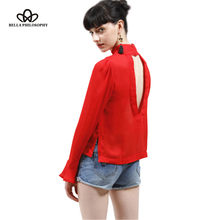 Bella Philosophy 2018 summer new women tops backless flare long sleeve stand collar hole t-shirt blue white red pink tees(China)