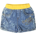 Boy's Girl's embroidery Letter pattern short Jeans with pockets, elastic yellow waistband for toddler kids XML-36814